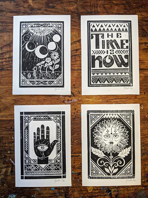 Set of 4 - 'Cycles, Sunny, Hamsa & Now'
