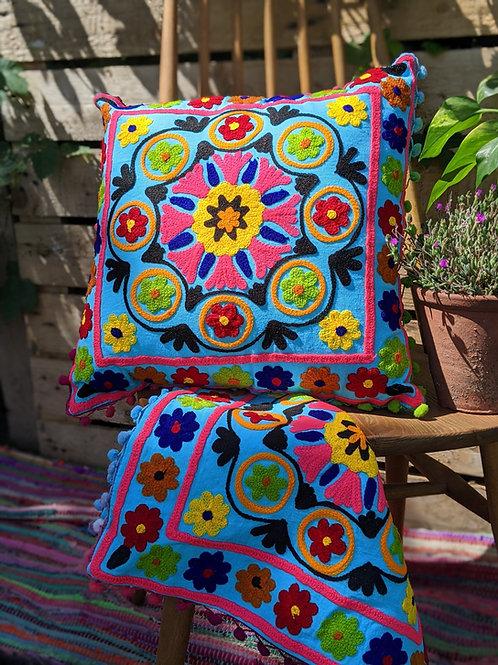 Blue embroidered mandala cushion