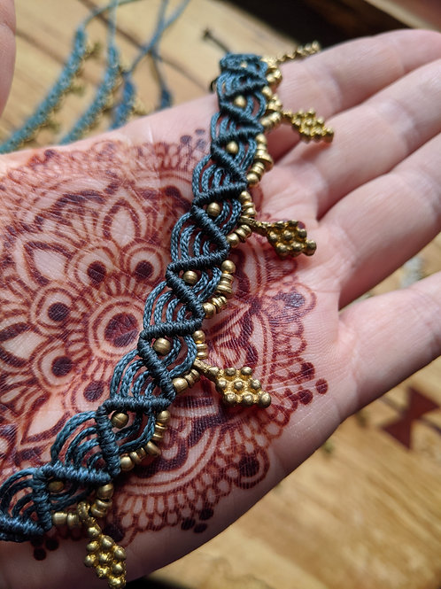 Macrame Anklet - with danglys!