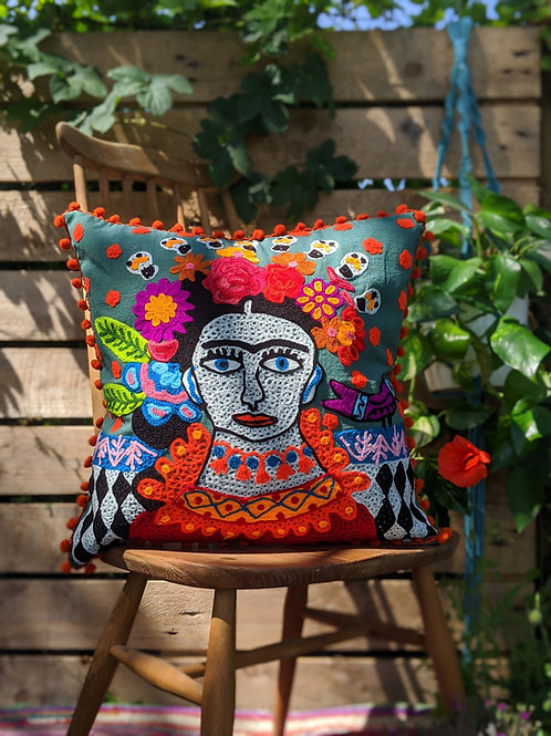 Frida Kahlo Cushion - Green with Orange fringing