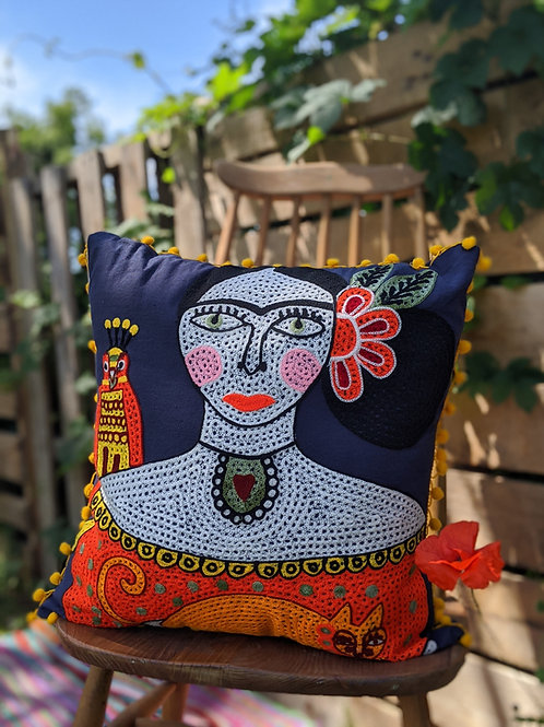 Frida Kahlo Cushion - Navy with yellow fringing