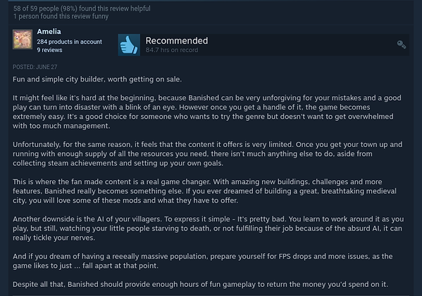 Banished Steam Reviews