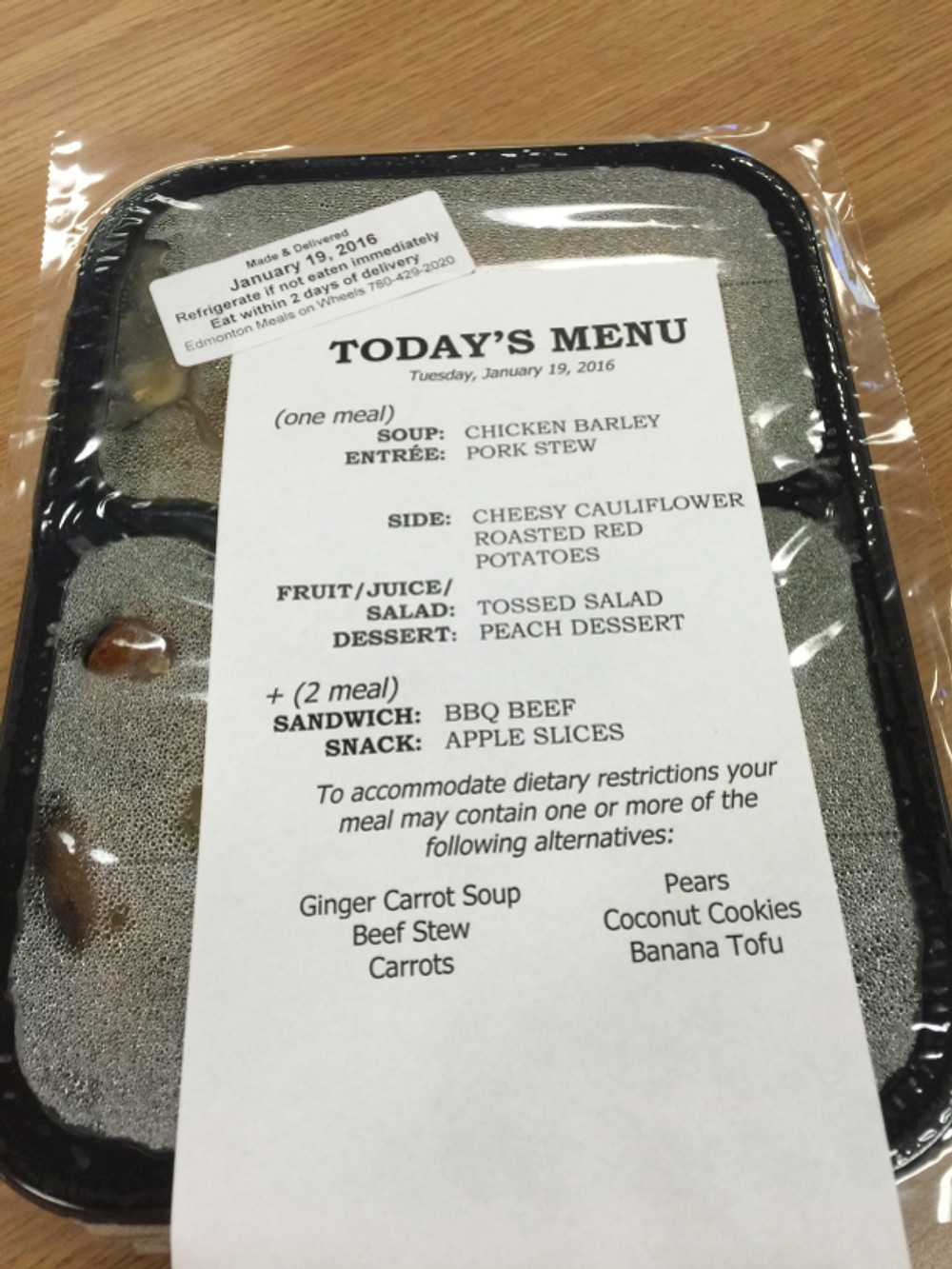 Meals on Wheels Meal
