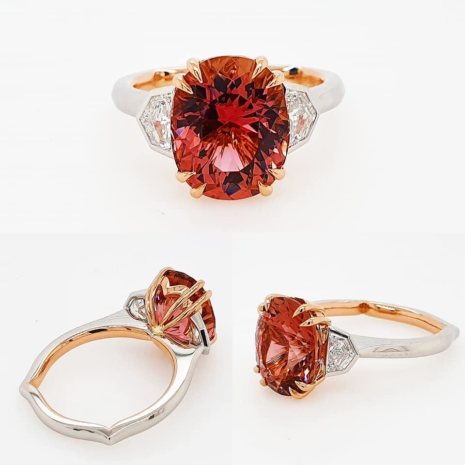 Ladies dress ring | Engagement Ring | Yellow Gold | Platinum | Fusion | Tourmaline