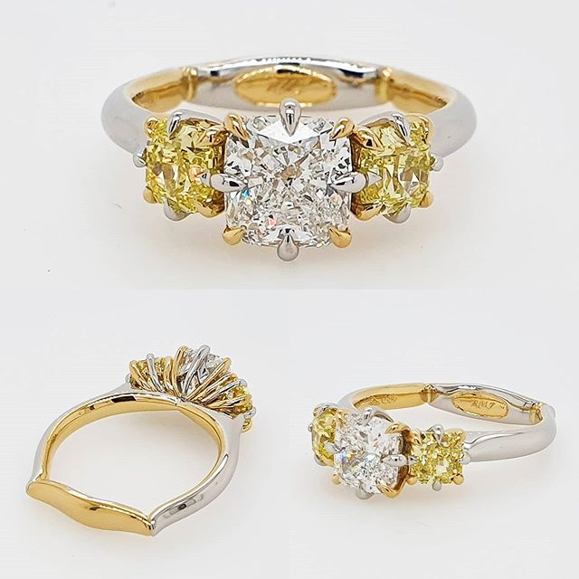 Trilogy | Engagement Ring | Fusion | Yellow Gold | Platinum | Yellow Diamonds