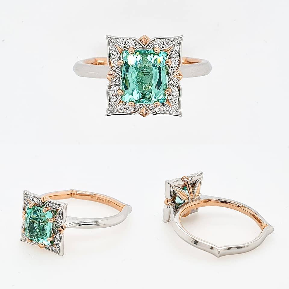 Ladies dress ring | Engagement Ring | Tourmaline | Fusion | Rose Gold | Platinum
