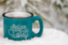 Blue hot mug steam rising relax more wor