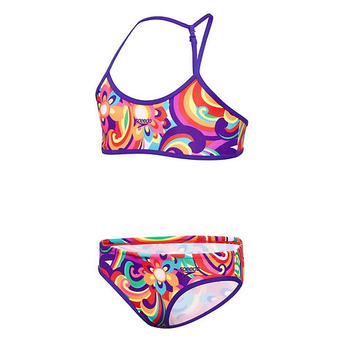 Speedo Girls Floral Swirl Y Back Crop Set