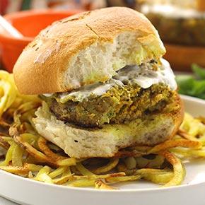 Moroccan Lamb Burgers With Mint Yoghurt Sauce