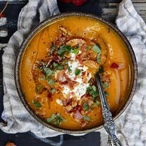 Pumpkin Soup with Bacon Crumbs