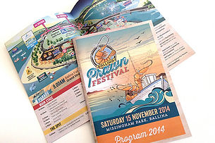 Ballina Prawn Festival program design and map illustration.