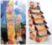 Aussie Biscuits point of sale display and flag banners