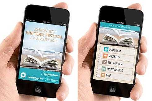 Byron Writers Festival Program Mobile App design
