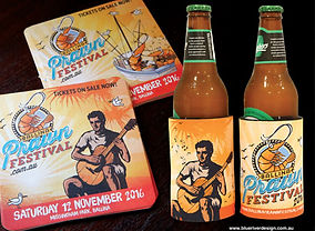 Ballina Prawn Festival Stubby Cooler design and coaster design