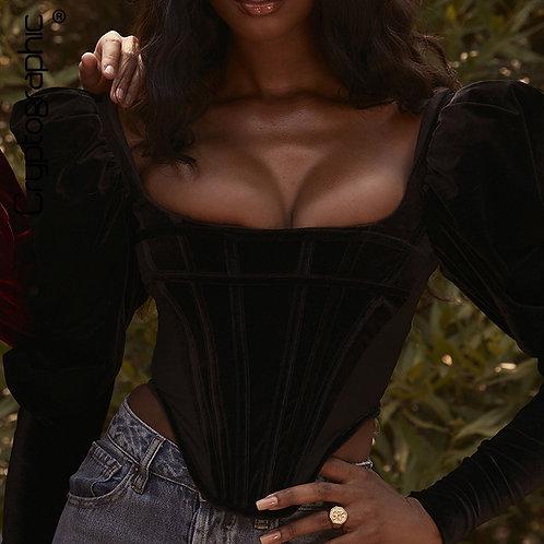 Elegant Black Velvet Blouse