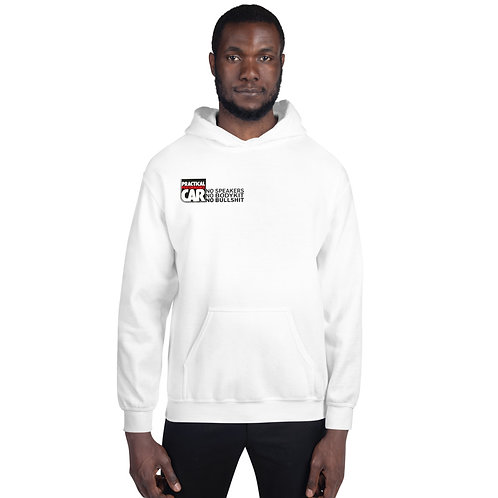 Grey or white Unisex Hoodie with No Speakers logo