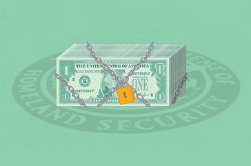 Stack of money locked up. Illustration f