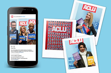 Celebrities posing with ACLU messaging