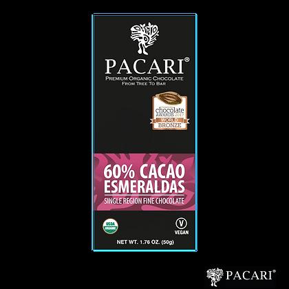 CHOCOLATE ORGÁNICO 60% ESMERALDAS, 50gr