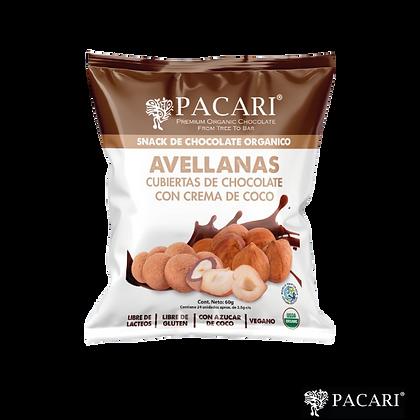 AVELLANAS CUBIERTAS DE CHOCOLATE CLARO Y AZÚCAR DE COCO, 60gr