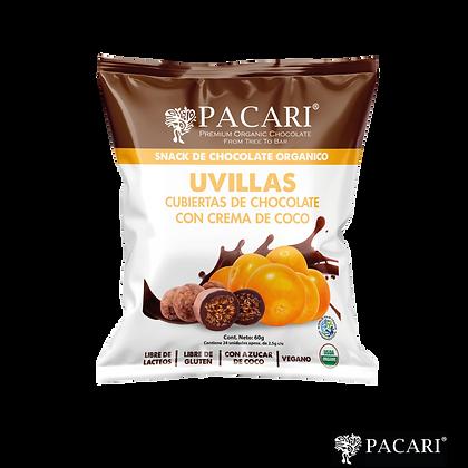 UVILLAS CUBIERTAS DE CHOCOLATE CLARO Y AZÚCAR DE COCO, 60gr