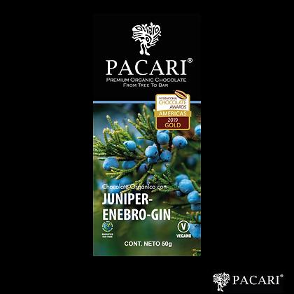 CHOCOLATE ORGÁNICO CON JUNIPER ENEBRO-GIN, 50gr