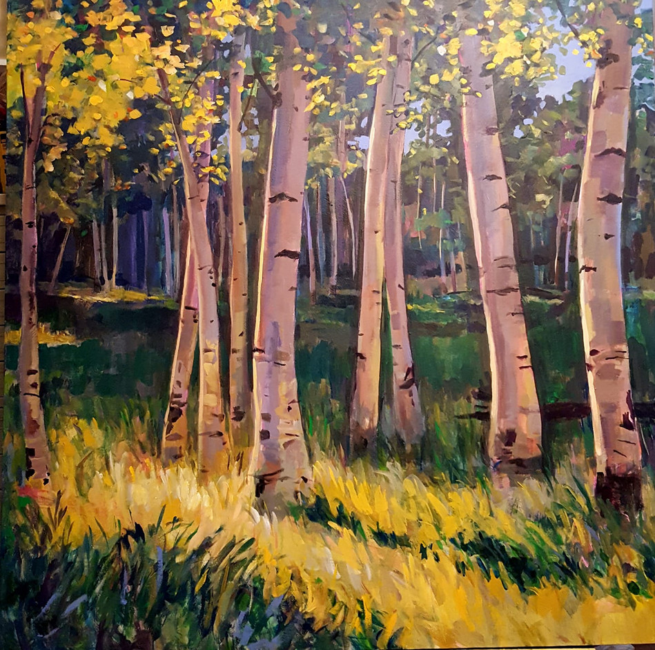Sunlit Grove acrylic 48x48inches $1800.