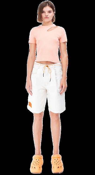 High-Rise White Bermuda Shorts / Reworked