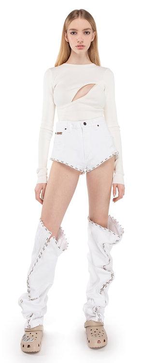 White Transformer Jeans On Hooks & Eyelets