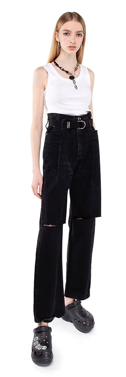Black Tapered Pleat Jeans / Reworked