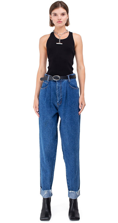 Blue Pleated Tapered Jeans With Darts / Mom