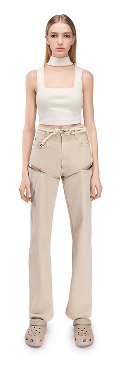 Beige Transformer Jeans On Zippers
