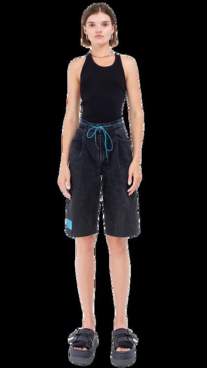 High-Rise Black Bermuda Shorts