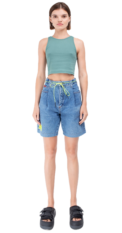 High-Rise Blue Bermuda Shorts