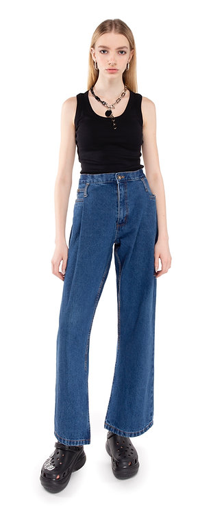 Blue Tapered Pleat Jeans / Reworked