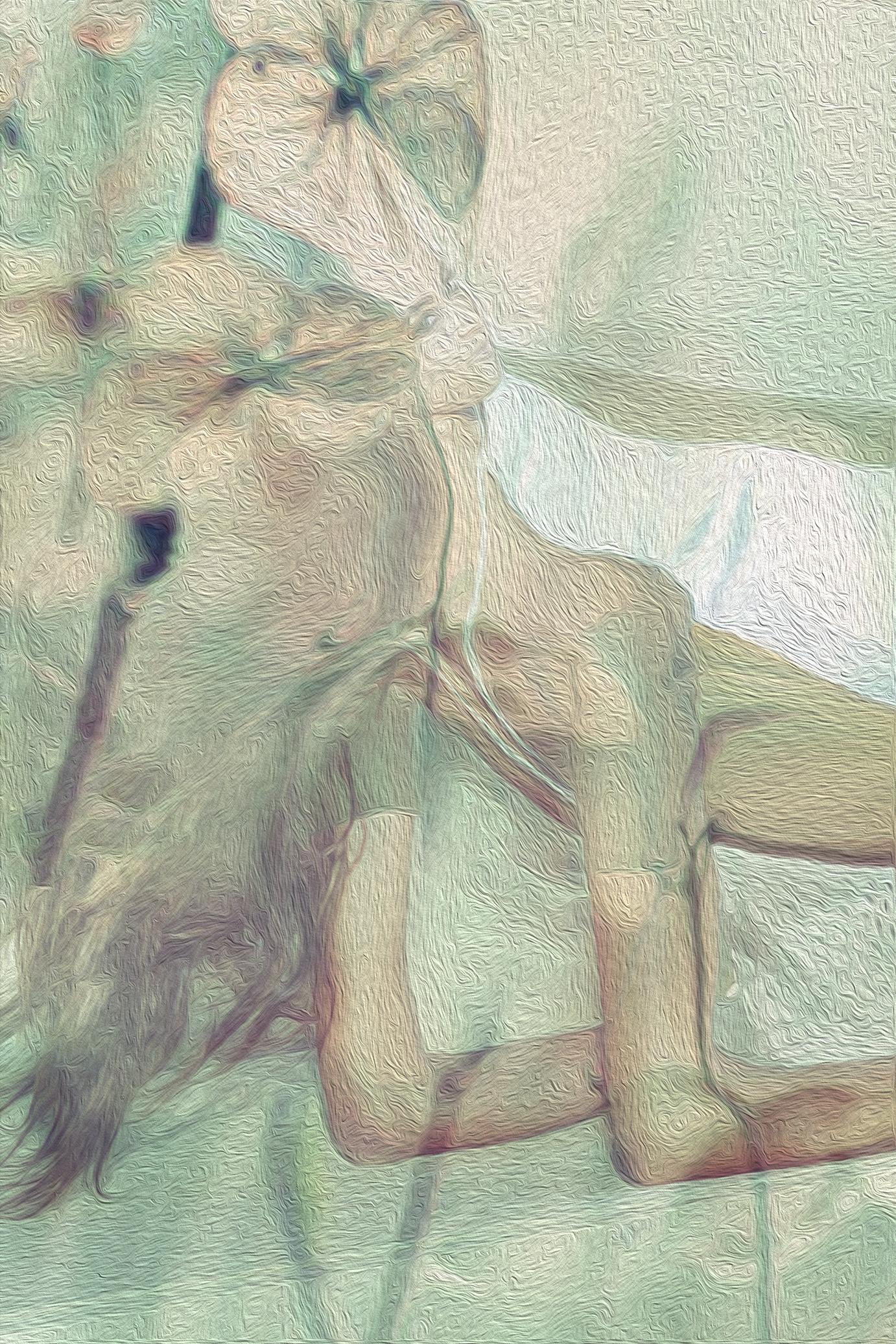 _white flower art oil