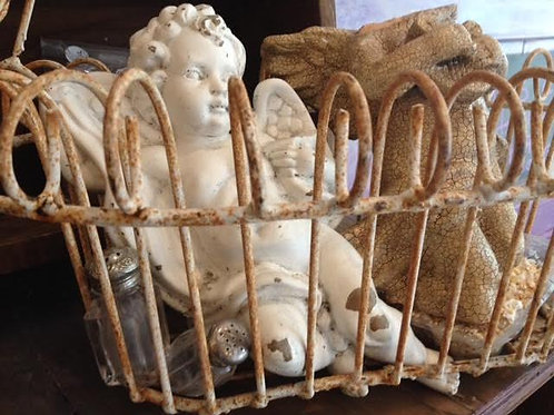 French Wire Basket And Cherub