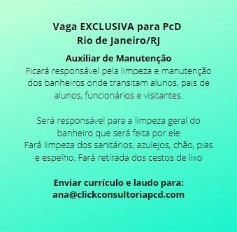 Vaga EXCLUSIVA para PcD no Rio de Janeiro/RJ