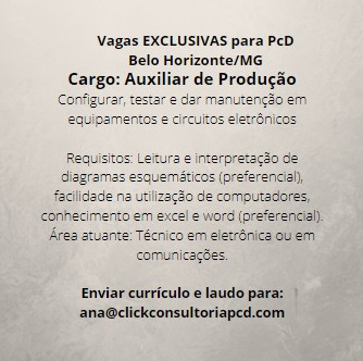Vaga EXCLUSIVA para PcD (Pessoa com Deficiência) em Belo Horizonte/MG