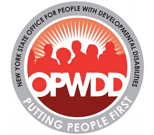 Round red logo containing silhouette of 5 people with acronym letters OPWDD in center