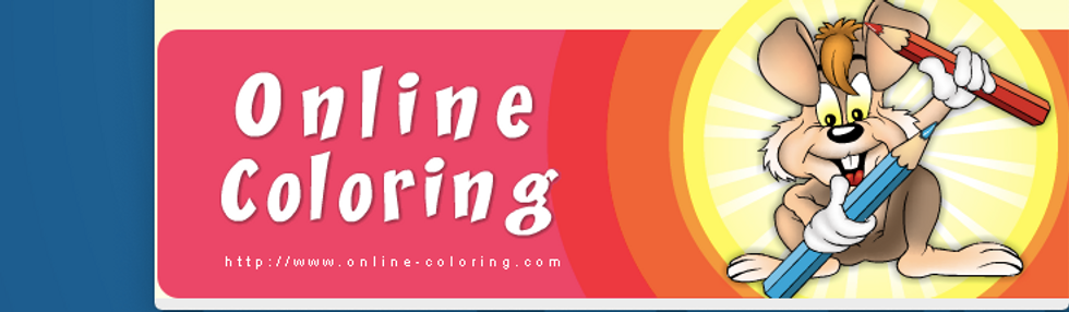 Coloring online logo of a cartoon rabbit holding 2 colored pencils