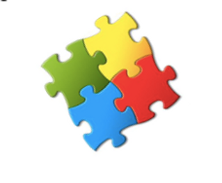 4 solid colored connected puzzle pieces one blue, one red, one green, one yellow.