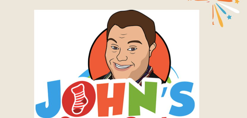 Cartoon image of a man smiling with text that reads John's Crazy Socks
