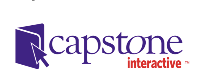 Book with arrow pointing to it and the words capstone interactive to its right