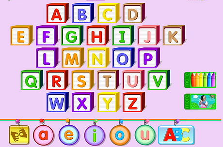 Children's blocks with letters of the alphabet