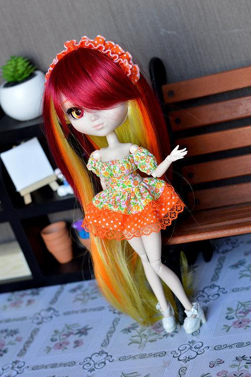 Outfit Aïrithy aux fleurs orange