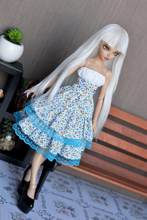 Robe Nix à petites fleurs bleu & orange [Taille A]