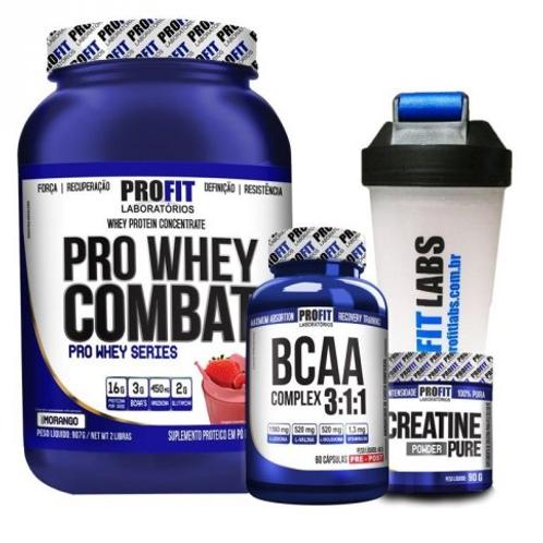 Kit 43 - Suplementos ProFit - Whey + Creatina + BCAA + Coqueteleira