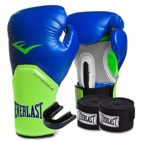 Kit Boxe Elite Everlast 14oz Azul com Verde