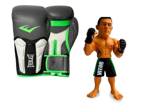 Kit Luva Boxe Elite Prime Everlast Preta com Verde 16oz + Boneco UFC Vitor Belfo